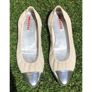 Prada Leather w/ Silver Cap Toe Ballet Flats 36.5